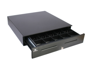 """APG Series 4000 Cash Drawer (Painted Front with Dual Media Slots, 320 MultiPRO Interface, 18"""" x 16"""" and Coin Roll Storage Till) - Color: Black"""