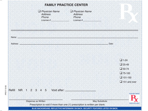 """Indiana compliant 5 1/2"""" x 4 1/4"""" Horizontal 1-part Rx Pads (8 Pads @ 100 sheets/pad) - Blue"""