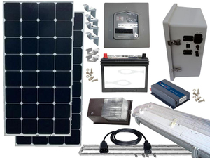 Earthtech Products Solar Power & Lighting Kit for Sheds, Garages & Remote Cabins - Pure Sine