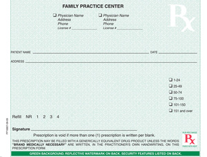 """West Virginia compliant 5 1/2"""" x 4 1/4"""" Horizontal 1-part Rx Pads (4 Pads @ 100 sheets/pad) - Green"""