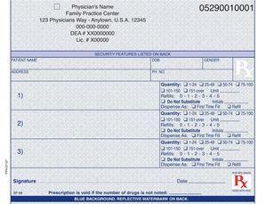 "California compliant (multiple drug format) 5 1/2"" x 4 1/4"" Horizontal 1-part Rx Pads (4 Pads @ 100 sheets/pad) - Blue"