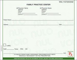 "Florida compliant 5 1/2"" x 4 1/4"" Horizontal 1-part Rx Pads (4 Pads @ 100 sheets/pad) - Green"