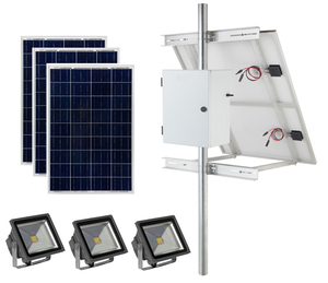 Earthtech Products Commercial Solar Flag Pole Lighting Kit for Flagpoles Up to 30 Feet - 3 Lights (4500 Total Lumens)