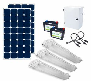 Earthtech Products Shipping Container Lighting Kit 3 - (3) Lights (9300 Lumens), (2) 100W Solar Panel, (2) 55 Ah Battery