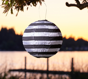 Black and White Stripe Solar Lantern