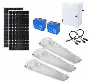 Earthtech Products Shipping Container Lighting Kit 3 - (3) Lights (9300 Lumens), (2) 100W Solar Panel, (1) 100 Ah Battery