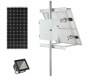 Earthtech Products Solar Sign & Landscape Light Kit - 1 Light (2400 Lumens), 120W Solar Panel, 100 Ah Battery