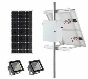 Earthtech Products Solar Sign & Landscape Light Kit - 2 Lights (2400 Lumens Total), 1 - 150W Solar Panel, 100 Ah Battery