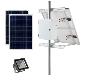 Earthtech Products Solar Sign & Landscape Light Kit - 1 Light (2250 Lumens), 2 - 100W Solar Panel, (2) 100 Ah Batteries