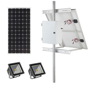 Earthtech Products Solar Sign & Landscape Light Kit - 2 Lights (1662 Lumens each), 250W Solar Panel, (2) 100 Ah Batteries