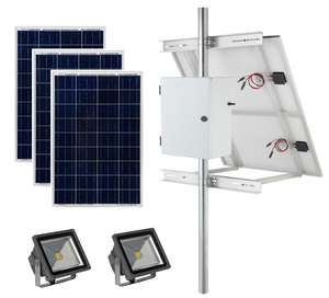 Earthtech Products Solar Sign & Landscape Light Kit - 2 Lights (2250 Lumens each), 3 - 100W Solar Panels, (2) 140 Ah Batteries