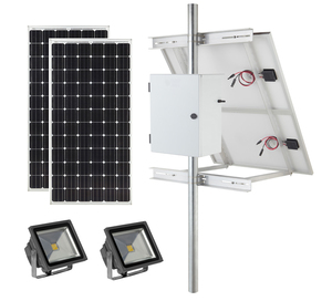 Earthtech Products Solar Sign & Landscape Light Kit - 2 Lights (12,000 Lumens Total), (2) 300W Solar Panels, (4) 115 Ah Batteries