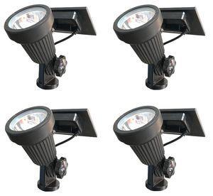 High Output Solar Spot Light - 4 Piece LED Solar Spotlight Landscape Lighting Kit with Stakes