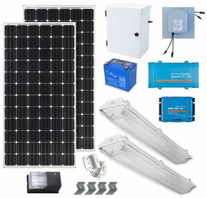 Earthtech Products Solar Power & Lighting Kit for Sheds, Garages & Remote Cabins - 140 Amps