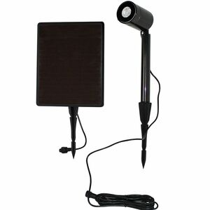 Solar Light with Color Selectable LED and Spot/Flood Lens - Black Stainless Steel