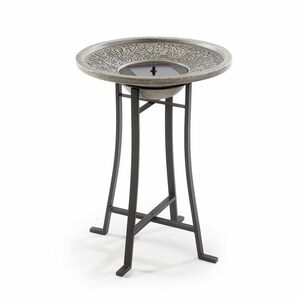 Perello Solar Birdbath - Distressed Grey Cement