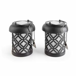 Qautrefoil Black Integrated LED Hanging Solar Lantern - 2 Pack