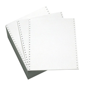 "11 3/4"" x 8 1/2"" - 15# 1-Ply Continuous Computer Paper (3,500 sheets/carton) No Vert. Perf - 1/2"" Green Bar"