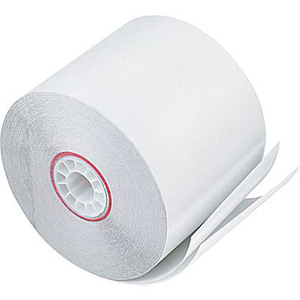 "3"" x 90'  (76mm x 27m)  2-Ply Carbonless Paper  (50 rolls/case) - White / White"
