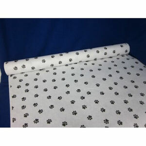"40"" x 100'  Paper Table Cover (1 roll) - Paw Print Design"