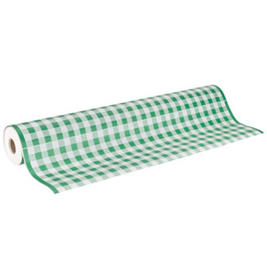 """40"""" x 300'  Paper Table Cover (1 roll) - Green / White Gingham"""