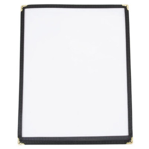 "8 1/2"" x 5 1/2"" - Clear Stitched Caf� Menu Covers (25 covers/pack) - 1 Panel / 2 View (Black)"