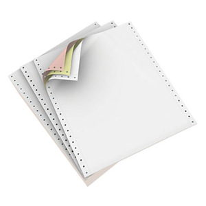 """9 1/2"""" x 11"""" - 15# 3-Part Premium Carbonless Computer Paper (1,200 sheets/carton) L&R Perf. - White/Canary/Pink"""