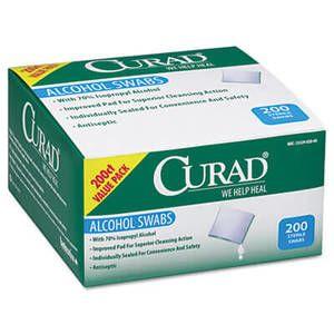 """Curad Alcohol Swabs, 1"""" x 1"""", 200/Box"""
