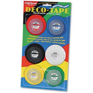 """Deco Bright Decorative Tape, 1/8"""" x 324"""", Red/Black/Blue/Green/Yellow, 6/Box"""