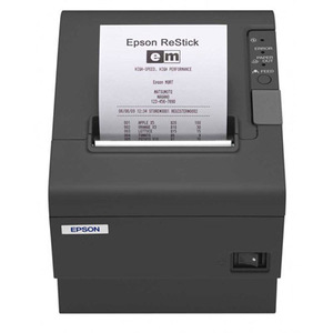 Epson TM-T88V, Thermal Receipt Printer - Energy Star Rated, Epson Dark Gray, Ethernet (Ub-E03) and USB Interface, With Buzzer, Power Supply Included