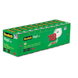 "3M Magic Tape Value Pack, 3/4"" x 1000"", 1"" Core, 10/Pack"