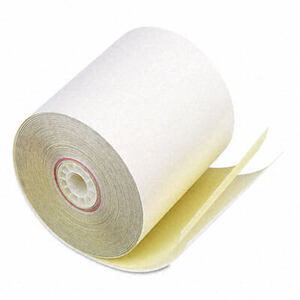 "3"" x 90' Two-Ply Receipt Paper Rolls; 50 rolls/carton - White/Canary"