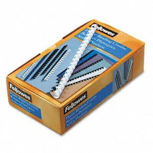 "Plastic Comb Bindings, 1/2"" Diameter, 90 Sheet Capacity, White, 100 Combs/Pack"