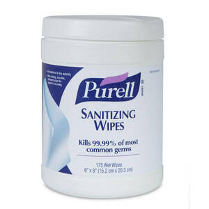 """Purell Sanitizing Hand Wipes, 6 x 6 3/4"""", White, 270 Wipes/Canister"""