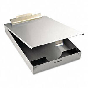 "Saunders Redi-Mate Aluminum Storage Clipboard, 1"" Capacity, Holds 8-1/2w x 12h, Silver"