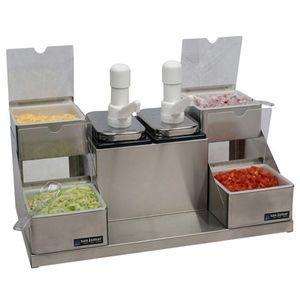 Self-Service Condiment Center - (2) Ultra Pumps, (2) 2 1/2 Qt Jars & (4) 1 Qt Inserts w/Notched Lids & Spoons