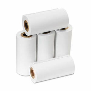 "2 1/4"" x 17' One-Ply Cash Register/Calculator Paper Rolls; 5 rolls/carton - White"