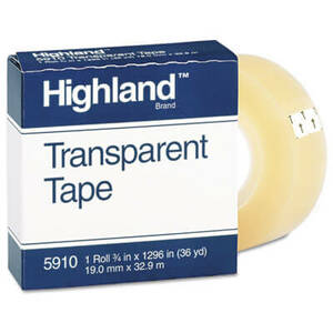"3M Transparent Tape, 3/4"" x 1296"", 1"" Core, Clear"