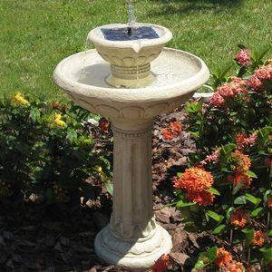 Kensington Gardens 2 Tier Solar On Demand Fountain with Antique White Finish