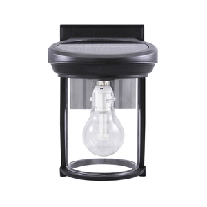 Solar Coach Lantern with GS Solar LED Light Bulb with Black Finish