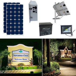Earthtech Products Solar Sign & Landscape Light Kit - 1 Light (2250 Lumens), 2 - 100W Solar Panels, 140 Ah Battery