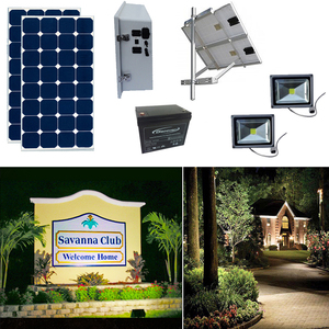 Earthtech Products Solar Sign & Landscape Light Kit - 2 Lights (800 Lumens each), 2 - 100W Solar Panels, 100 Ah Battery