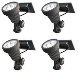 High Output Solar Spot Light - 4 Piece Warm White LED Solar Spotlight Landscape Lighting Kit with Stakes