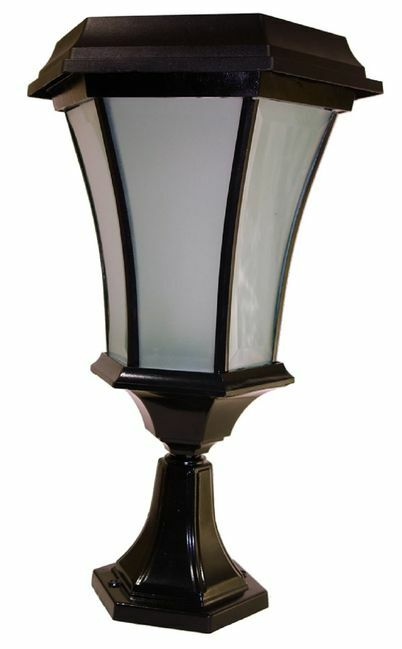 Solar Coach Lamp with Flicker Flame LED - Pier Mount