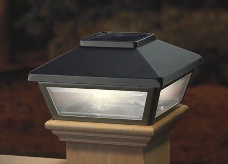 Black Solar Post Cap Light, Decorative Solar Light for 4x4 Posts (Inside Dimensions measure 3-5/8 x 3-5/8)