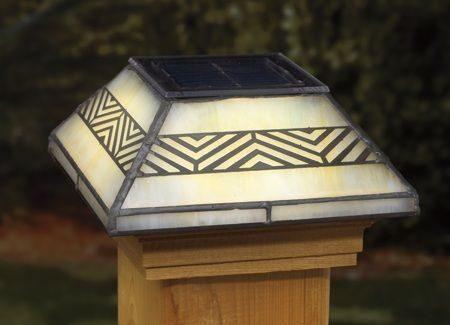 Chevron Filigreed Glass Post Cap Light for 4x4 Posts (Inside Dimensions measure 3-5/8 x 3-5/8) - Cedar Skirt