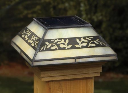Leaf Filigreed Glass Post Cap Light for 4x4 Posts (Inside Dimensions measure 3-5/8 x 3-5/8) - Cedar Skirt