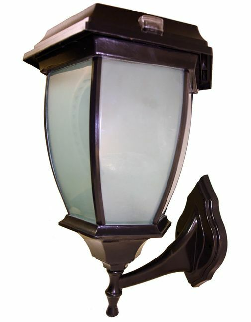 Concave Solar Coach Lamp with Flicker Flame LED - Wall Mount