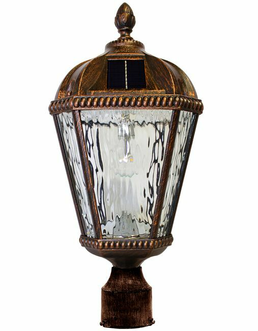Gama Sonic Royal Solar Lamp with GS-Solar LED Light Bulb with 3 Inch Fitter - Brushed Bronze