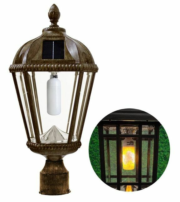 Flicker Flame Royal Solar Lamp with GS-Solar LED Light Bulb with 3 Inch Fitter